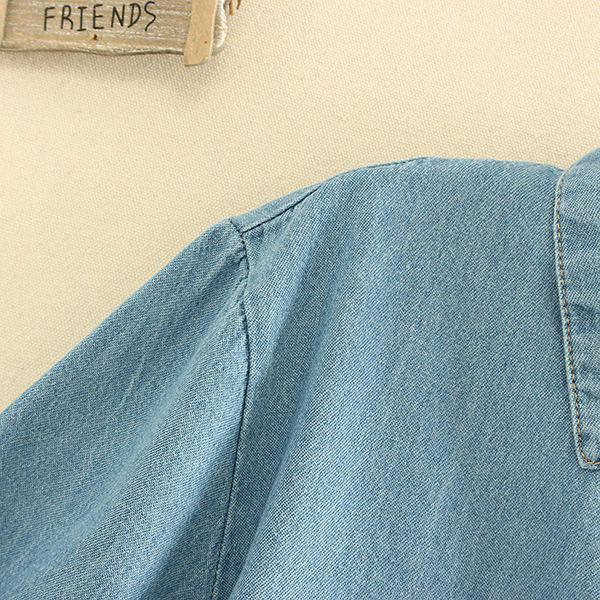 เสื้อเชิ้ตยีนส์ฟอกนิ่ม ปักลายแมว แต่งกระเป๋าอก