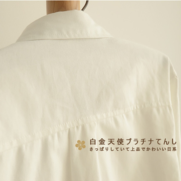 เสื้อเชิ้ตแฟชั่นญี่ปุ่น แขนยาว แต่งกระดุมน่ารัก