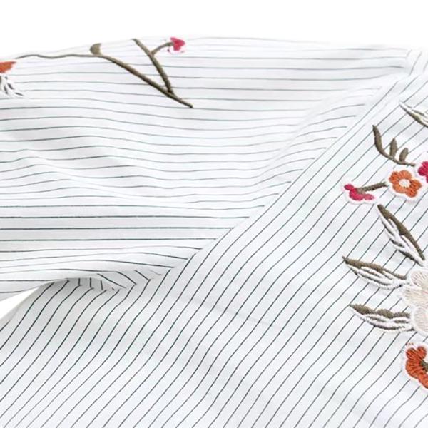 เสื้อเชิ้ตลายทาง แขนยาว ปักลายดอกไม้สไตล์วินเทจ