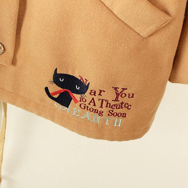 เสื้อโค้ทกันหนาววินเทจ มีฮู้ดปักลายแมว ซับผ้าขนนุ่ม