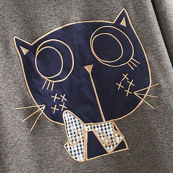 เสื้อสเวตเตอร์ปกสก็อตตัวยาว ซับกำมะหยี่กันหนาว ปักลายแมว