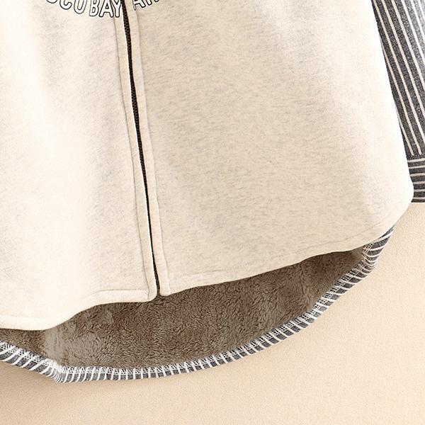 เสื้อกันหนาวแฟชั่นญี่ปุ่น ซับขนนุ่ม แต่งลายวินเทจ