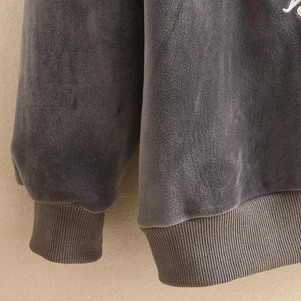 เสื้อสเวตเตอร์กันหนาว กำมะหยี่หนานุ่ม มีฮู้ด