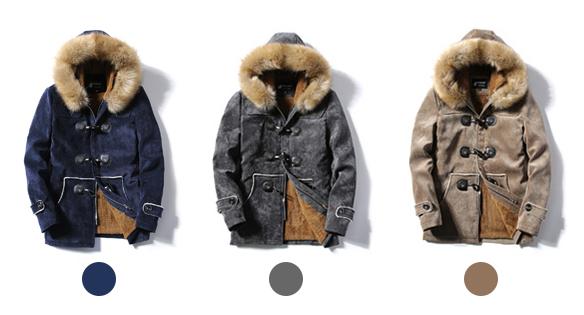 เสื้อโค้ทแฟชั่นญี่ปุ่น มีฮู้ดเฟอร์ถอดได้ ซับขนกันหนาวติดลบ (10227MM)