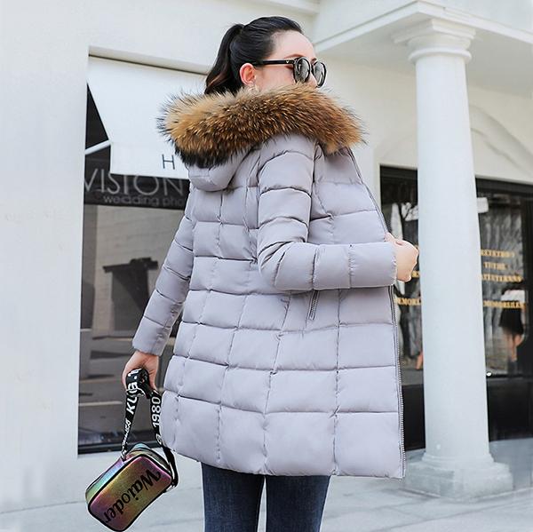 เสื้อโค้ทกันหนาวติดลบกันหิมะได้ มีฮู้ดเฟอร์ใหญ่ถอดได้