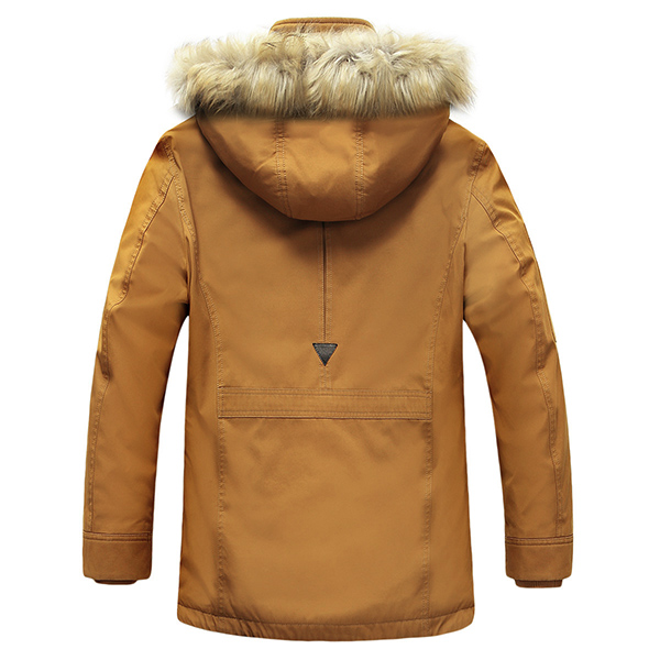เสื้อโค้ทรุ่นหนาซับขน แต่งเฟอร์ ฮู้ดถอดได้ (10233MM)