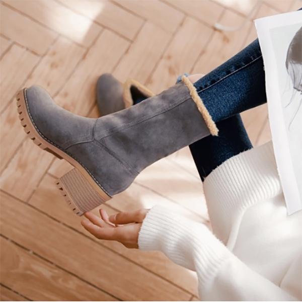 รองเท้าบูทหนังกลับ ซับในผ้าขนแกะ