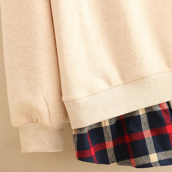 เสื้อสเวตเตอร์ปกเชิ้ตลายสก็อต ซับกำมะหยี่กันหนาว