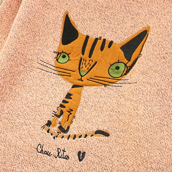 เสื้อไหมพรมกึ่งวูลหนานุ่ม ปักลายแมวน่ารัก แต่งกระเป๋าคู่