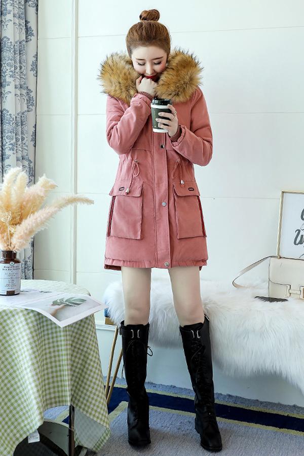 เสื้อโค้ทกันหนาวบุขนใส่ติดลบลุยหิมะได้ ฮู้ดแต่งเฟอร์ใหญ่