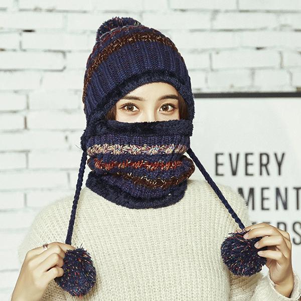 หมวกไหมพรมพร้อมผ้าพันโดนัทบุขนนุ่มกันหนาว แบบ 2 ชิ้น