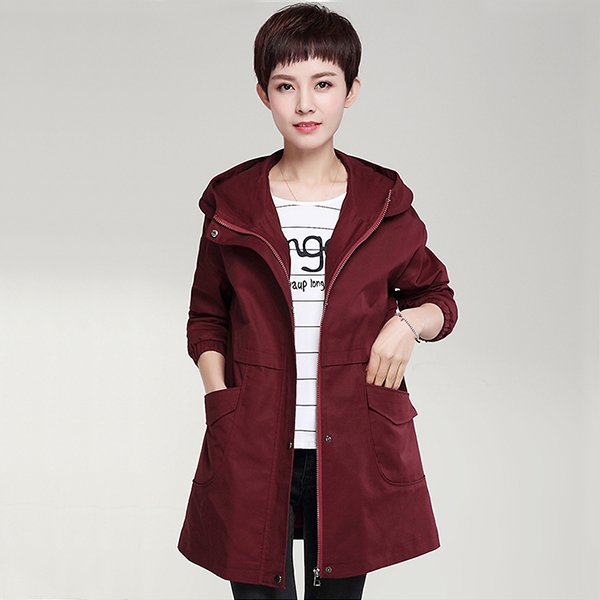 เสื้อแจ็คเก็ตกันหนาวตัวยาว มีฮู้ด แต่งกระเป๋าคู่