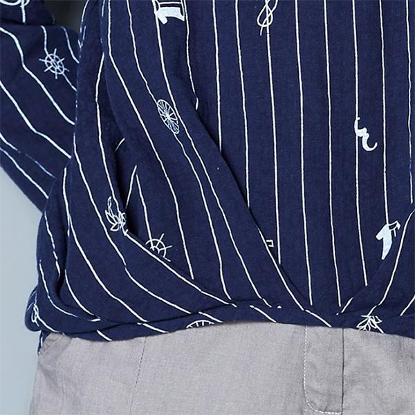 เสื้อเชิ้ตคอจีน แขนสามส่วน พิมพ์ลายวินเทจ (12148LM)