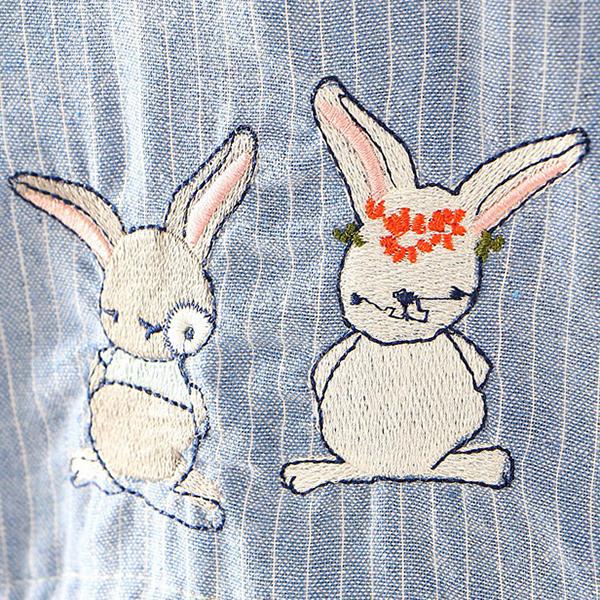 เดรสเชิ้ตแขนยาว เอวผูกจั๊ม ปักลายกระต่ายน่ารัก