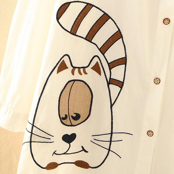 เดรสเชิ้ตแฟชั่นญี่ปุ่น แขนยาว แต่งลายแมวอ้วนน่ารัก (12291LM)