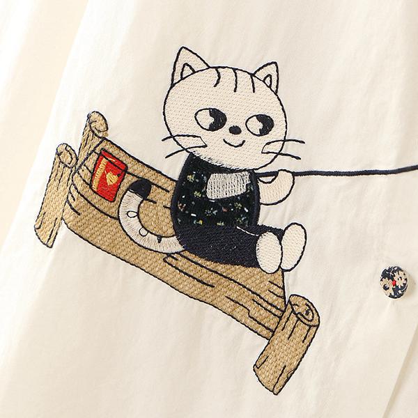 เดรสเชิ้ตแฟชั่นญี่ปุ่น แขนยาว ปักลายแมวตกปลา