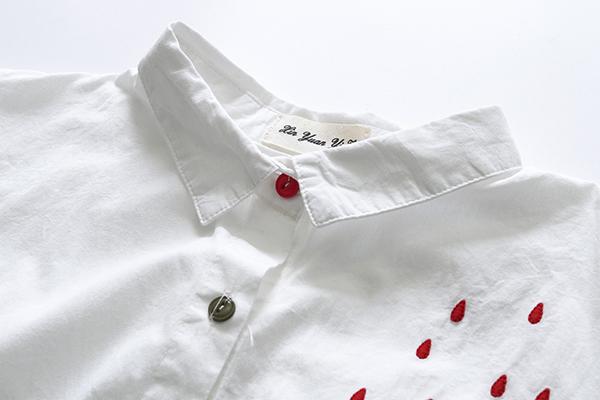 เสื้อเชิ้ตแฟชั่นญี่ปุ่น แขนยาว ปักลายร่มน่ารัก