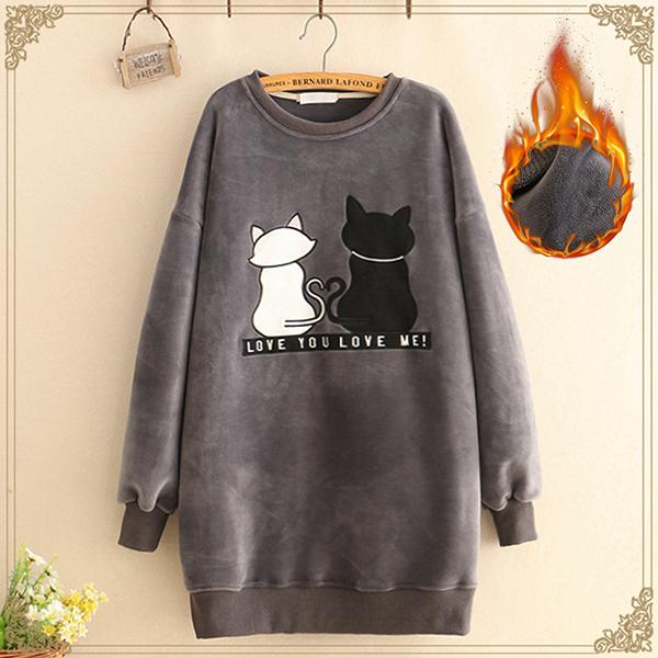 เดรสกันหนาว แขนยาว ผ้ากำหยี่หนานุ่มปักลายแมว