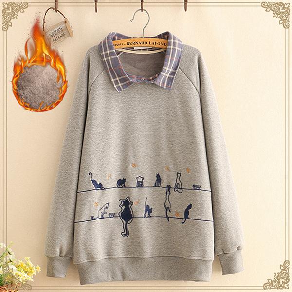เสื้อสเวตเตอร์กันหนาวแฟชั่นญี่ปุ่น ผ้าซับกำมะหยี่ปักลายแมว