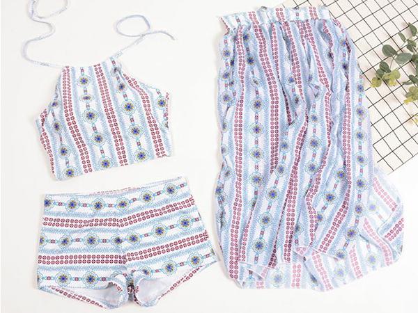 ชุดว่ายน้ำวินเทจงานพรีเมี่ยม เสื้อครอปคู่กางเกง พร้อมกระโปรงเข้าชุด