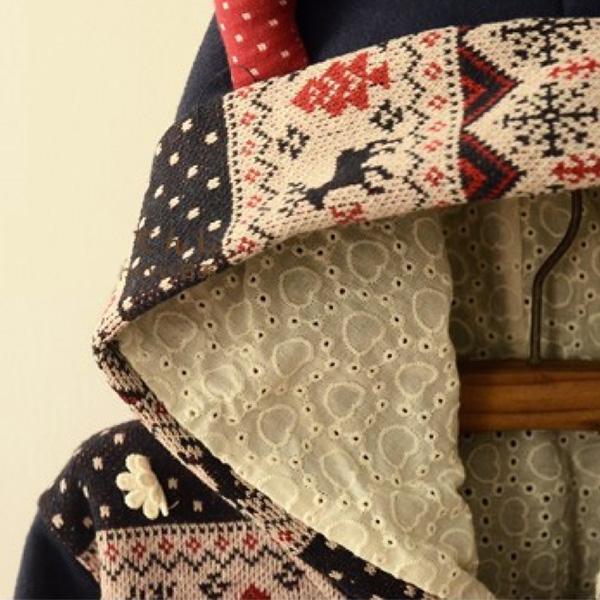 เสื้อสเวตเตอร์กันหนาวปักลายวินเทจ มีฮู้ดแต่งหูกวางน่ารัก
