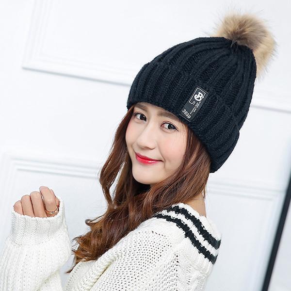 หมวกไหมพรมกันหนาวซับผ้าขนนุ่ม แต่งปอมเฟอร์ใหญ่
