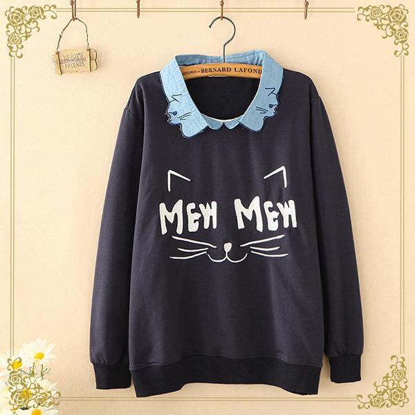 เสื้อสเวตเตอร์ปกเชิ้ต แต่งลายแมวเหมือนใส่สองชั้น