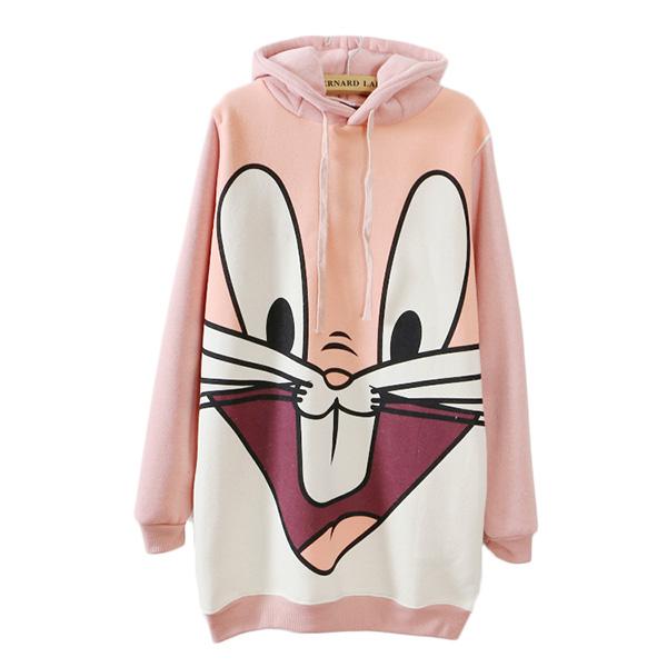 เสื้อสเวตเตอร์กันหนาวตัวยาว ฮู้ดหูกระต่าย ลาย Bug Bunny