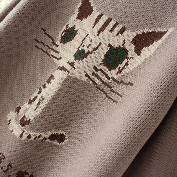 เสื้อสเวตเตอร์ไหมพรมวูลหนานุ่มตัวยาว ถักลายแมวน่ารัก