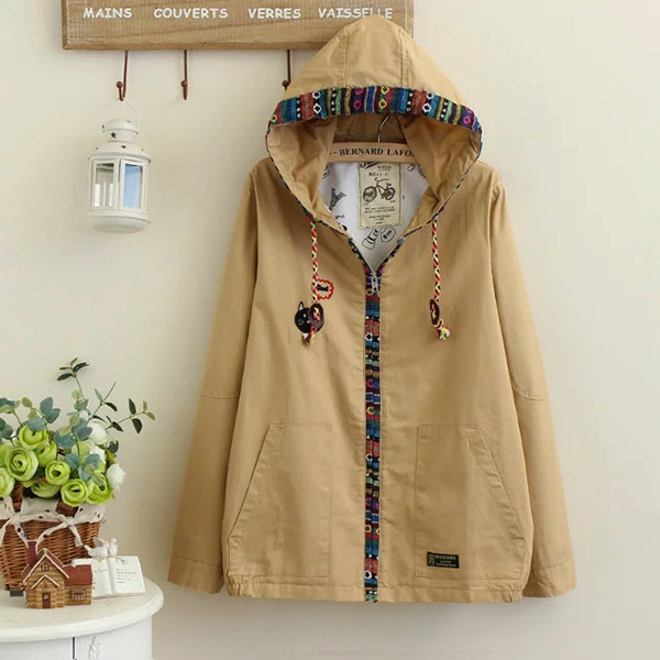 เสื้อแจ็คเก็ตกันหนาวสไตล์วินเทจ มีฮู้ด แต่งกระเป๋าคู่