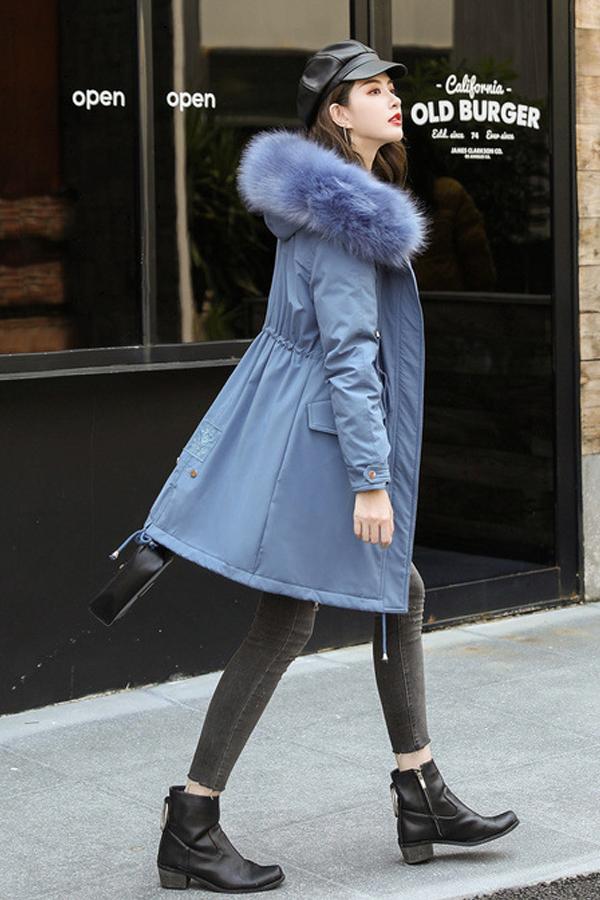 Overcoat เสื้อโค้ทกันหนาวใส่ติดลบลุยหิมะ ผ้ากันลมบุเฟอร์ขนนุ่ม มีฮู้ดเฟอร์ใหญ่ถอดได้