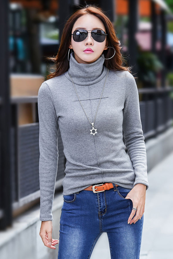 เสื้อคอเต่า เสื้อแขนยาว ผ้าคอตตอนซับกำมะหยี่กันหนาว