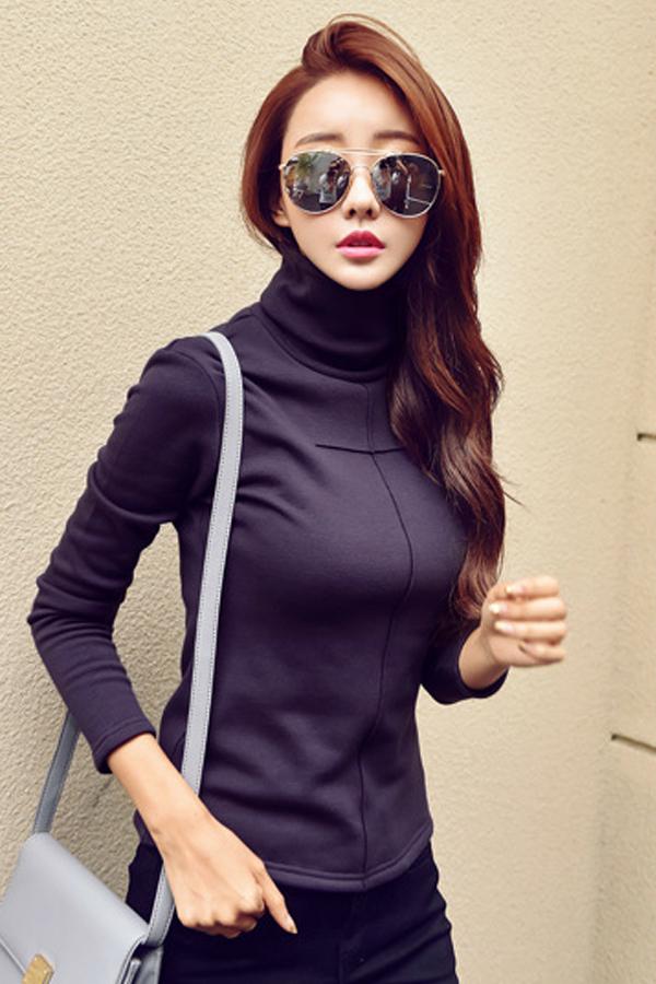 เสื้อคอเต่าแขนยาว ผ้าคอตตอนซับกำมะหยี่กันหนาว