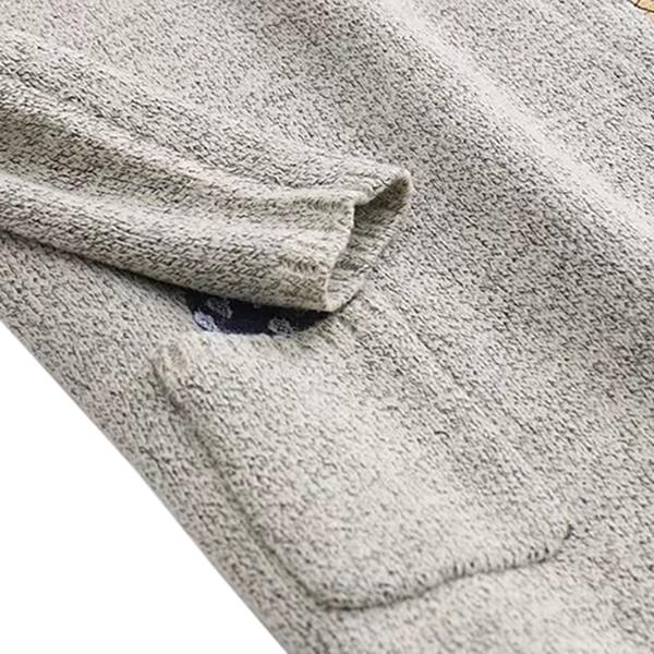 เสื้อไหมพรมวูลหนานุ่มตัวยาว แต่งกระเป๋าคู่ปักลายแมวน่ารัก