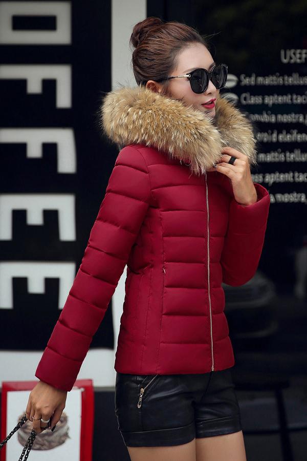 เสื้อโค้ทกันหนาวติดลบลุยหิมะ ทรงสลิม มีฮู้ดเฟอร์ใหญ่ถอดได้
