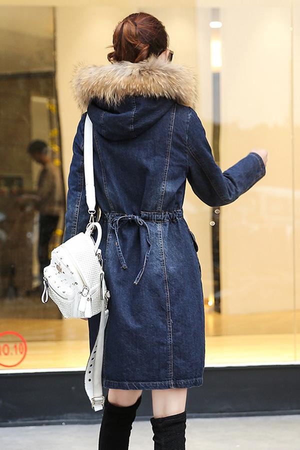 เสื้อโค้ทยีนส์บุขนกันหนาวติดลบ ฮู้ดแต่งเฟอร์ถอดได้