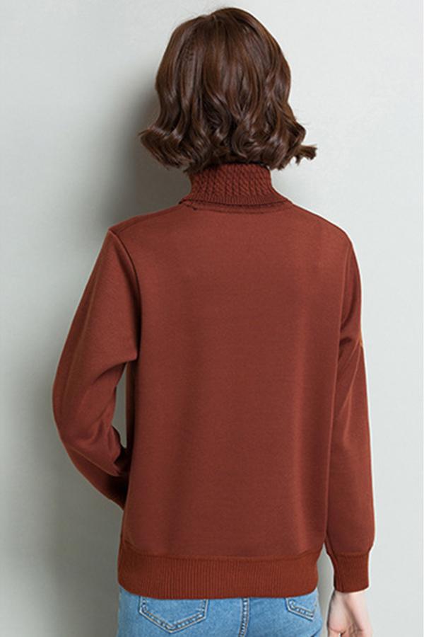 เสื้อคอเต่า เสื้อไหมพรมบุขนแคชเมียร์กันหนาว ปักลายผีเสื้อ