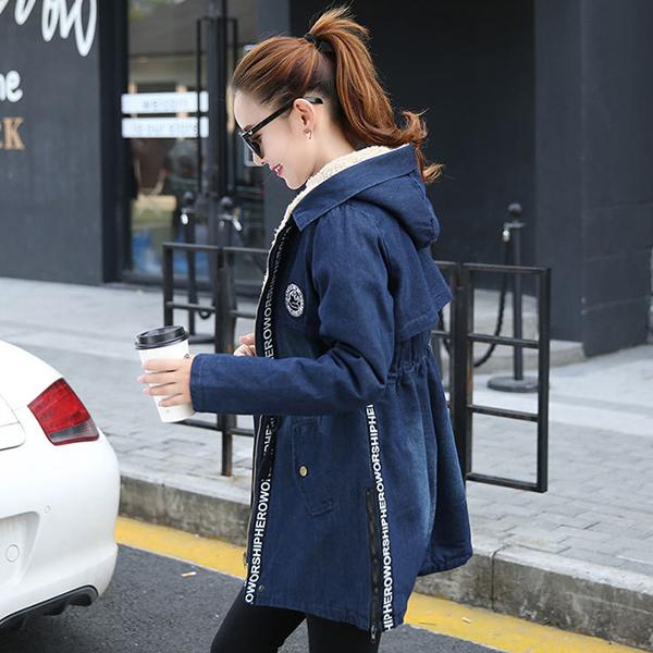 เสื้อโค้ทยีนส์กันหนาว มีฮู้ด ซับขนแกะใส่ติดลบลุยหิมะได้