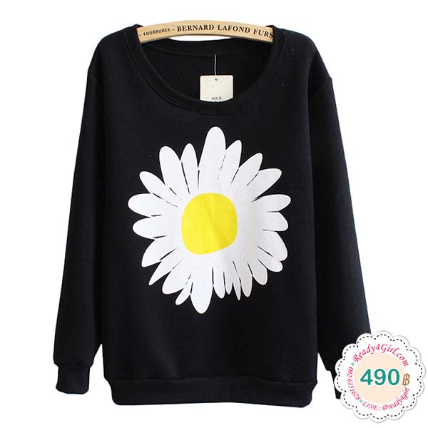 เสื้อสเวตเตอร์กันหนาว แขนยาว พิมพ์ลายดอกไม้ (11441H)