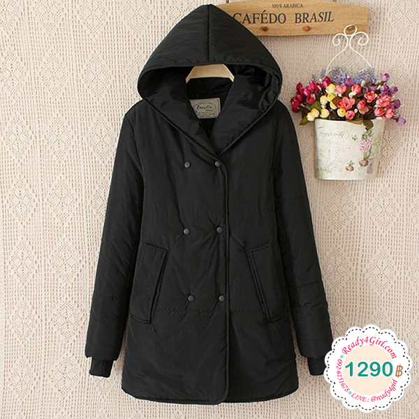 เสื้อโค้ทกันหนาวผ้าบุนวมอุ่น มีฮู้ด แต่งกระเป๋าคู่ (11521LM)