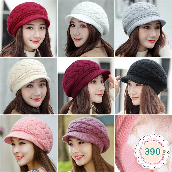 หมวกไหมพรมกันหนาวถักลายนูน ซับผ้าขนแกะทั้งใบ (11640L)