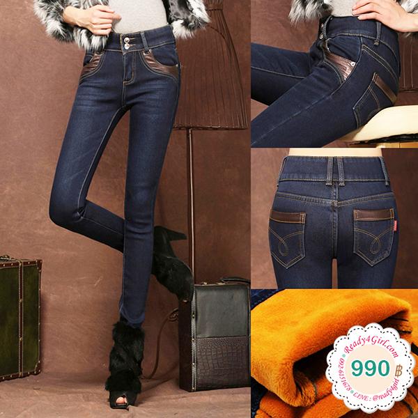 กางเกงยีนส์บุขนกันหนาวทรงสลิม เอวปกติ ใส่ติดลบได้ (11660X)