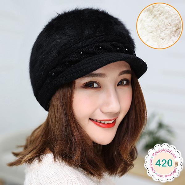 หมวกไหมพรมขนนุ่มปักมุก ซับผ้าขนแกะกันหนาว (11687L)