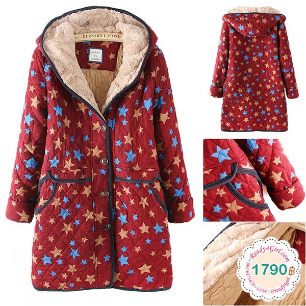 เสื้อโค้ทกันหนาววินเทจ ผ้าทอลายดาว มีฮู้ดซับผ้าขนนุ่ม (11749LM)