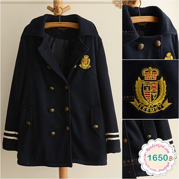 เสื้อโค้ทกันหนาวแฟชั่นญี่ปุ่น ปักลายอก มีกระเป๋าคู่ (11830LM)