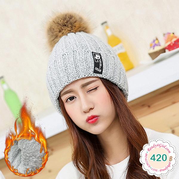 หมวกไหมพรมกันหนาวซับผ้าขนนุ่ม แต่งปอมเฟอร์ใหญ่ (11916L)