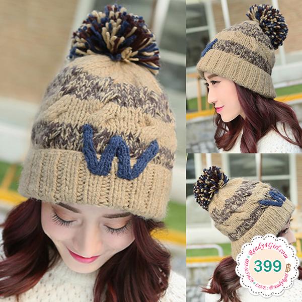 หมวกไหมพรมกันหนาวแบบปิดหู แต่งปอมใหญ่น่ารัก (11925L)
