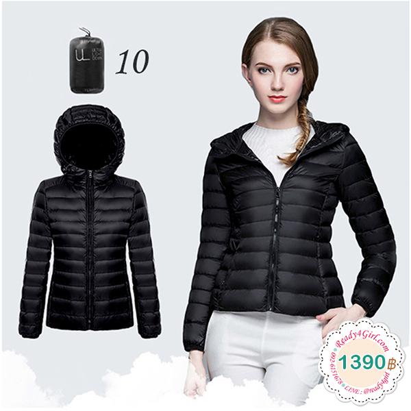 Ultra Light Down เสื้อกันหนาวขนเป็ด มีฮู้ดพร้อมถุงเก็บ (11966X)