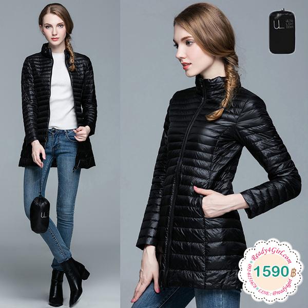 Ultra Light Down เสื้อโค้ทกันหนาวขนเป็ดตัวยาว พร้อมถุงเก็บ (11967X)