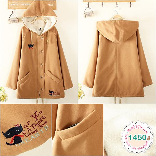 เสื้อโค้ทกันหนาววินเทจ มีฮู้ดปักลายแมว ซับผ้าขนนุ่ม (12071LM)